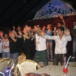 Clap Dance that happens every night, everyone gets pulled up to have a boogie :)