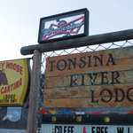 """Rustic"" sign at the wonder Tonsina River Lodge"