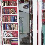 Secret bookcase entrance to breakfast room