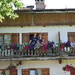 my daughter and husband on the balcony of Haus Kandlinger