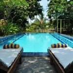 Pool during the day at front villa