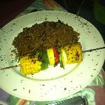 Peas and rice and vegetable kebab from the bbq