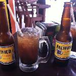 Micheladas! Mexican beer with lime, worchtershire, salt and hot sauce.