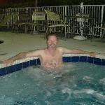 relaxing in the hot tub
