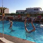 handstand contest in the rooftop pool!