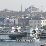 A view of the Galata Bridge from the 10th floor.