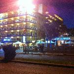 Las Arenas hotel at night