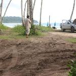 The muddy path to the beach, and the pickup truck from whose stereo the locals were playing loud