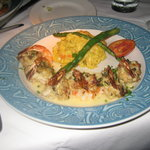 Crab stuffed shrimps with risotto