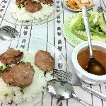 """Mrs Long's delicious broken rice (We call it """"Com Tam Thuy"""") The best in town :)"""