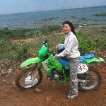 Aline riding the KDX 200