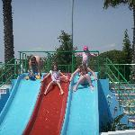 Small slides at splash pool