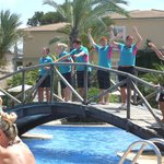 Staff doing the party dances at the pool