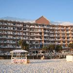 Beachside view of Hotel