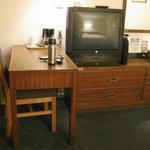 Desk, Coffee Maker, TV, Chest of Drawers