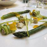 Appetizer: asparagus prepared three ways.