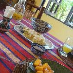 Breakfast: Mangu, cheese, salchichon, mango, fresh juice, coffee