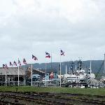 Coos Bay Boardwalk - flags along the boardwalk