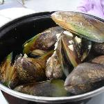 Pot of New Zealand green mussels - first and one of the best of many places I had these in NZ