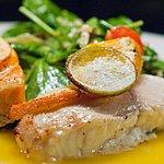 Lime and orange marinated fresh salmon and Atlantic Wolf fish