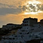 sunset over oia from our balcony