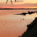 Sunset on the Mekong just a small walk away