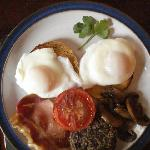 poached eggs - hagis & bacon