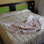 Our bed decorated for our anniversary