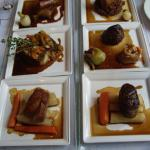 Caribou, braised carrots and parsnips with juniper berries. Venison, cranberry tortellini. Guine