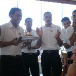 Waiters at hotel birthday morning