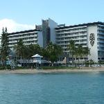 View of the Hotel from the pier along the beach.