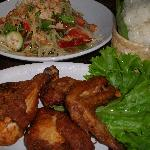 Papaya salad,chicken and sticky rice