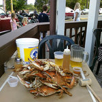 Wide shot of dozen blue crabs at Quarterdeck Restaurant