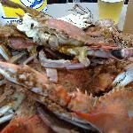 Close-up shot of dozen blue crabs at Quarterdeck Restaurant