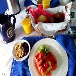 Stuffed strawberry French toast, blueberry crisp, lemon poppyseed bread, morning glory muffins,