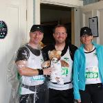 David with team mascot + Adam and Kay
