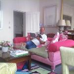 husband enjoying the bubbly in lounge