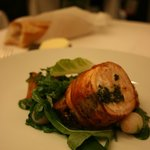 Pan-seared salmon wrapped in bacon with Romaine lettuce puree