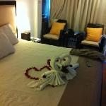 superior double room. decorations on bed cz we were honeymooners. very sweet of the staffs :))
