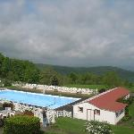 View from the front porch over the outdoor pool (emprty until 5/30 - they also have an indoor po