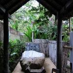 outdoor shower at bhagavat gita suite