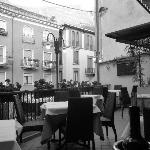 Very Italian, open air roof terrace dining