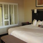 shutters open from the bathroom/tub to the bedroom