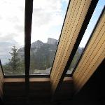 View of Rundle Mountain through the window