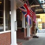 Outside entrance at Mrs. G & Me restaurant in Hendersonville, NC