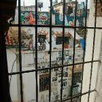 The bizarre view from the barred window