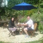 Enjoying our cream tea in the Sun