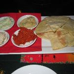 Entree of dips and bread