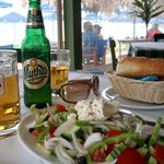 A Greek salad as a starter and a coold beer.
