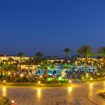 View of hotel pools at night